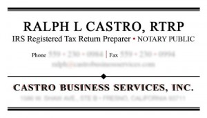 Slightly Updated Castro Business Card