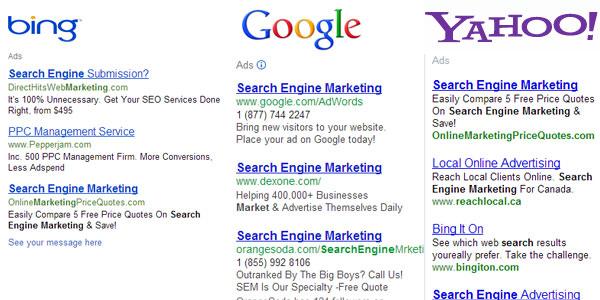 Bing, Google, Yahoo Paid Results