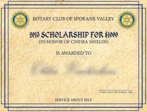 Rotary Scholarship Certificate