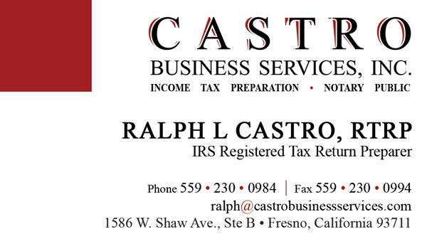 Registered tax return preparer business cards best business cards castro business cards creative cube company design and marketing portfolio reheart Image collections